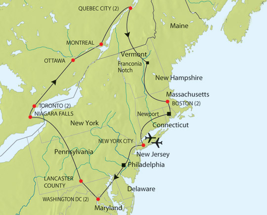 Carte Cote Est Usa Ville.Visiter Les Environs De New York New York Alternatif