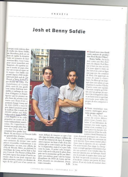 Interview avec Josh et Benny Safdie, les nouveaux frères Cohen